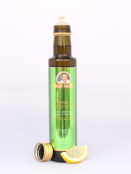 Ralf Moll Omega-3-Gourmetöl mit pflanzlichen EPA-DHA mit Zitrone, 250 ml Glasflasche mit