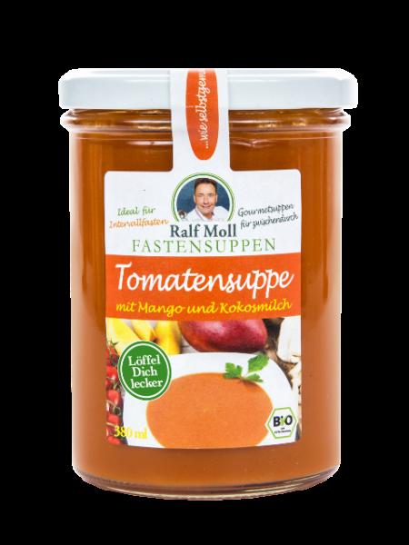 Fastensuppe Bio-Tomatensuppe mit Mango und Kokosmilch, 380 ml im Glas