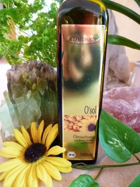 O`sol / Brat- und Grillöl (Bio-Oivenöl, Bio-Sonnenblumenöl), 500 ml