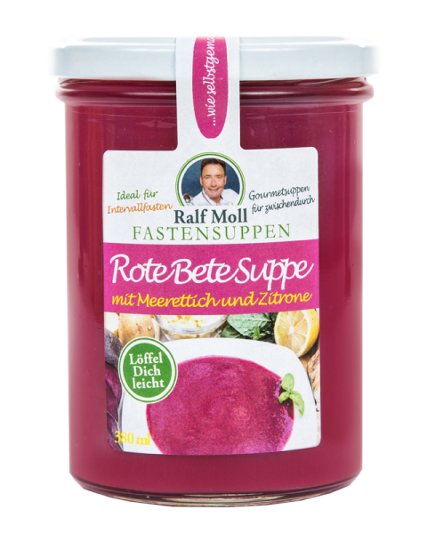 Fastensuppe Bio-Rote-Bete-Suppe mit Meerrettich-Zitrone, 380 ml im Glas