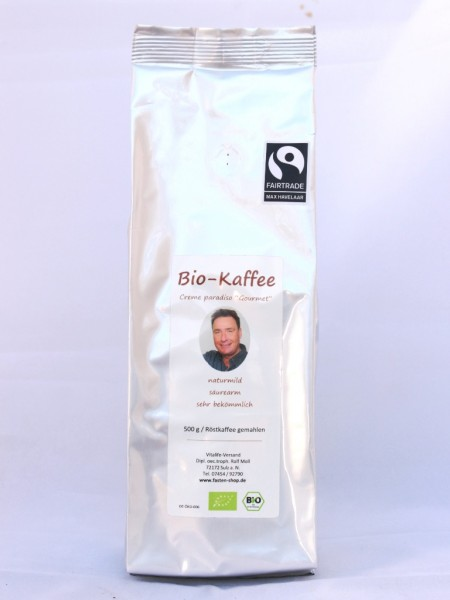 "Säurearmer Bio-Gourmet-Kaffee, gemahlen, fairtrade, ""creme paradiso"", Aktion: 10+1 !"