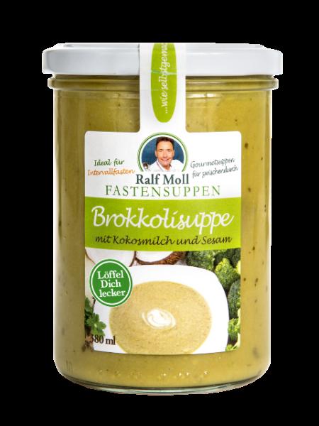 Fastensuppe Bio-Brokkolisuppe mit Kokosmilch und Sesam, 380 ml im Glas