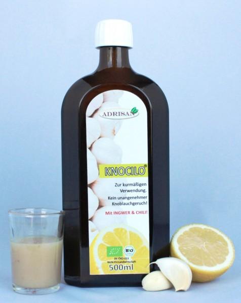 Knocilo, natürliches Knoblauch-Zitronengetränk, 500 ml