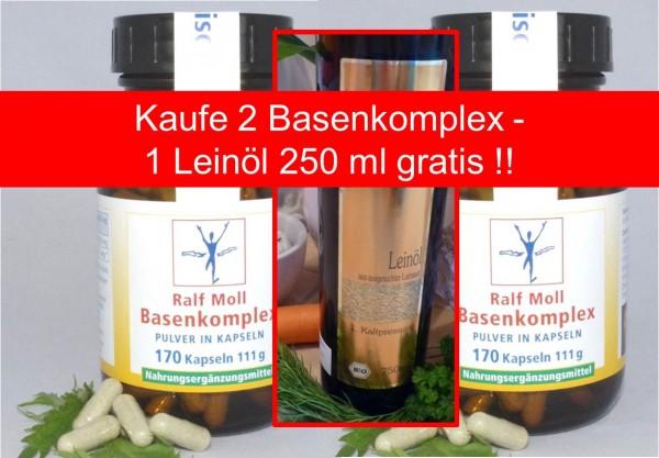 Basisch-Fit-Aktion: 2 Basenkomplex - 1 Leinöl 250 ml gratis !