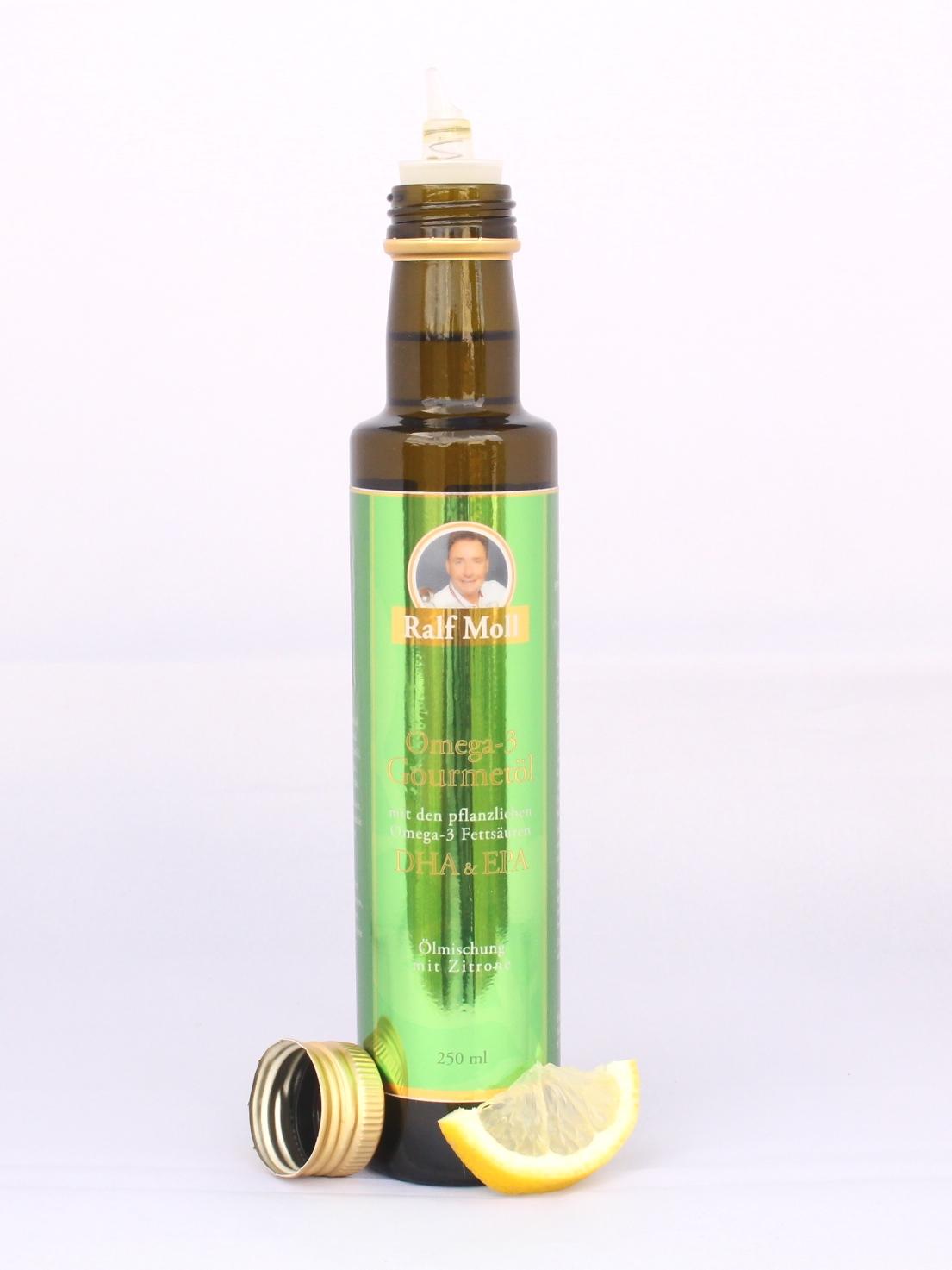 Ralf Moll Omega-3-Gourmetöl mit pflanzlichen EPA-DHA mit Zitrone