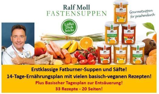 pdf-Rezeptbuch mit 33 Rezepten für leckere Fatburnersuppen, Supersäfte und basisch-vegane Speisen