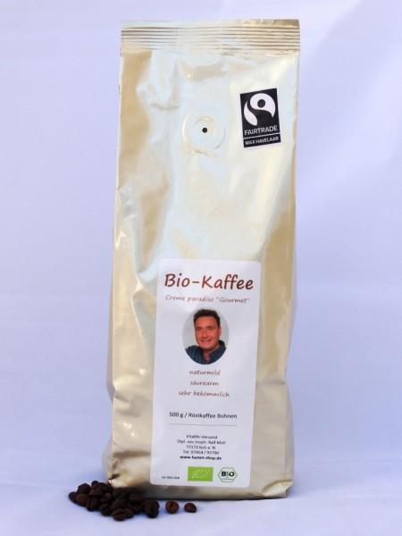 """Säurearmer Bio-Gourmet-Kaffee, ganze Bohnen, fairtrade, """"creme paradiso"""", 500 g"""