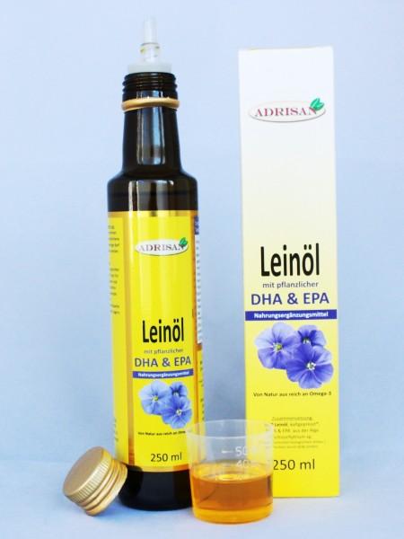 Leinöl (Bio) mit DHA + EPA, 250 ml natives Speiseöl aus 1. Kaltpressung